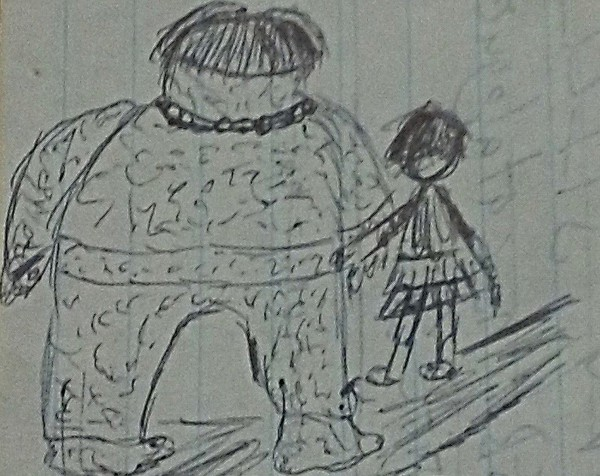 doodle original - girl and protector
